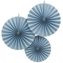 Paper fans set blue (3pcs)