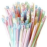 Plastic rietjes retro gekleurd(50st)