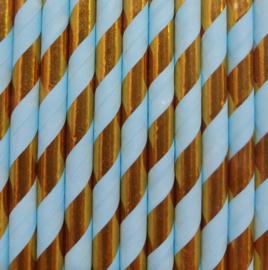 Paper straws blue/gold stripes (10pcs)