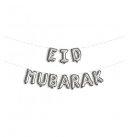 Eid foil bunting balloons silver