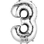 Cijfer ballon 3 zilver (40cm)