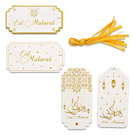 Gift tags Eid white/gold (8pcs)