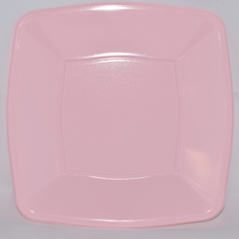 Plastic bordjes vierkant roze (10st)