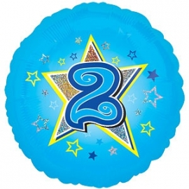 "Foil balloon TWO blue stars 18"""