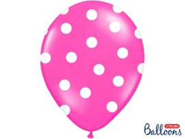 Balloons hot pink white dots (6pcs)