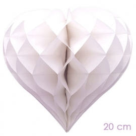 Honey comb white heart 20cm