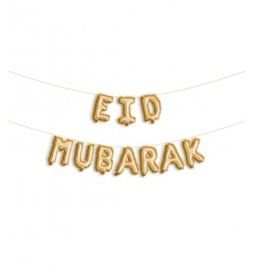 Folie letter ballon Eid Mubarak goud