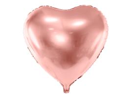 XL Folie ballon hart rose goud (61cm)