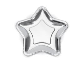 Paper plates silver star (6pcs)