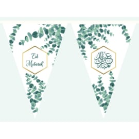 Bunting Eid green leaf