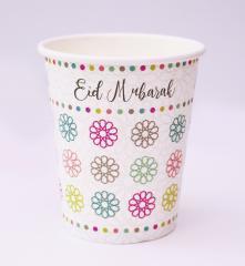 Papieren bekers Eid mubarak  geo flowers (5st)