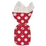 Cellophane bag red polka dots