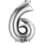 XL foil balloon silver number 6