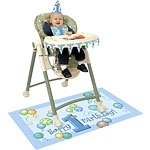 First birthday high chair decorating kit blue balloons