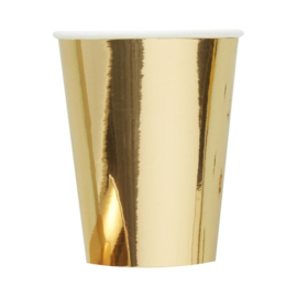 Paper cups gold metallic (8pc)