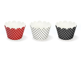 Cupcake wrappers ladybug rood wit (6st)