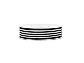 Grosgrain ribbon b/w stripes