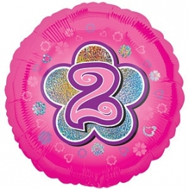 """Foil balloon TWO pink flower 18"""""""
