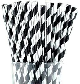 Paper straws black silver foil (10pcs)