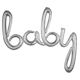 BABY foil ballon script zilver