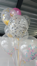 Confetti text balloon black / gold mix (6pcs)