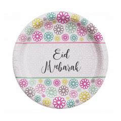 Papieren borden Eid mubarak geo flowers (5st)