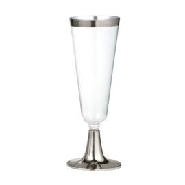 Plastic champagne glas zilver (4st)