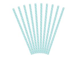 Paper straws blue polka dots (10pcs)