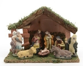 Kerststal met figuurtjes (9 delig)