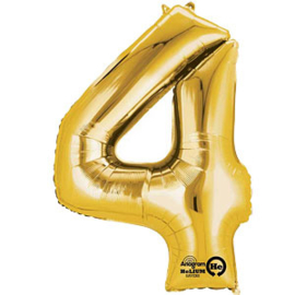 XL foil balloon gold number 4