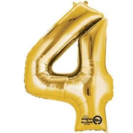 Cijfer ballon XL  goud 4 (86cm)