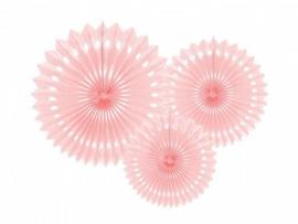 Papieren mini fans pastel roze (3st)