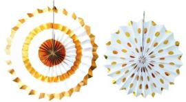 Set papieren fan set goud wit foil (2st)