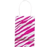 Paper party bag pink zebra