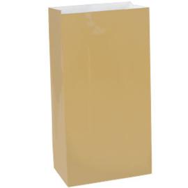 Papieren zakjes effen goud groot  (10st)