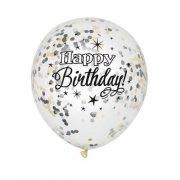 Ballon confetti mix zwart goud zilver (6st)