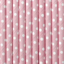 Papieren rietjes licht roze met witte stippen (10st)