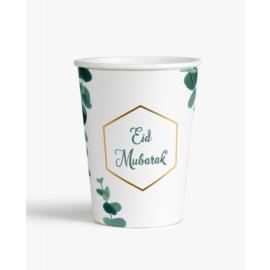 Eid bekers groen wit blad (6st)
