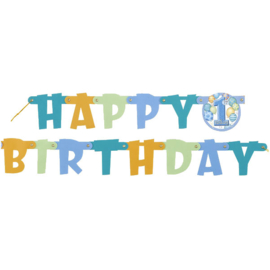 Letter banner Happy birthday blue