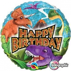 "Foil balloon T-rex Happy Birthday 18"""