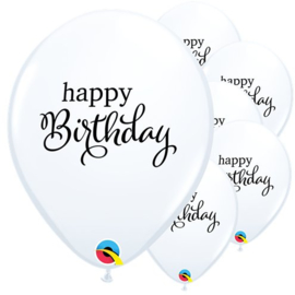Ballonnen wit Happy Birthday (6st)