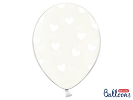 Clear balloons white hearts (6pcs)