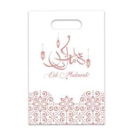 Snoepzakjes Eid plastic rose gold wit (6st)