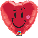 Foil balloon smiley heart (18in)