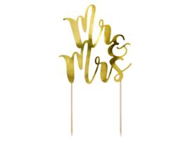 Taart topper Mr&Mrs goud