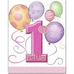 First birthday loot bags pink balloons (8pcs)
