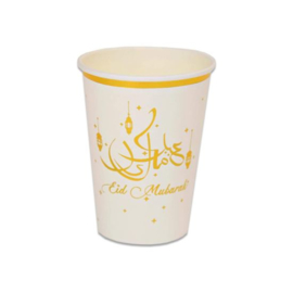 Paper cups Eid white gold  (8st)