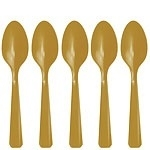 Plastic lepeltjes goud (20st)