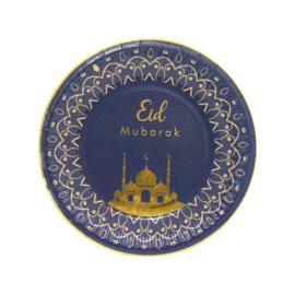 Papieren bordjes Eid luxe blauw (8st)