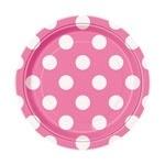 Papieren bordjes polkadots roze (8st)